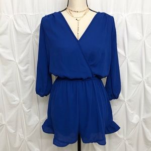 Royal Blue 3/4 Sleeve Romper